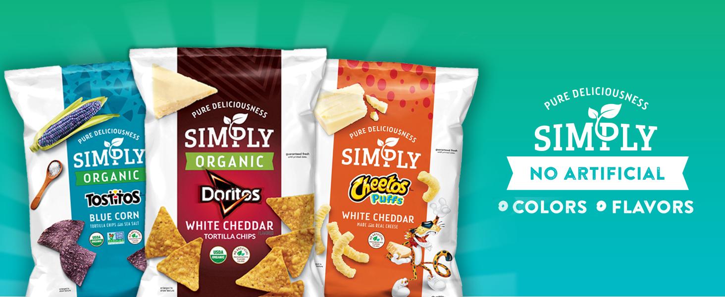 simply organic snacks tostitos doritos cheetos white cheddar blue corn chips puffs snacks