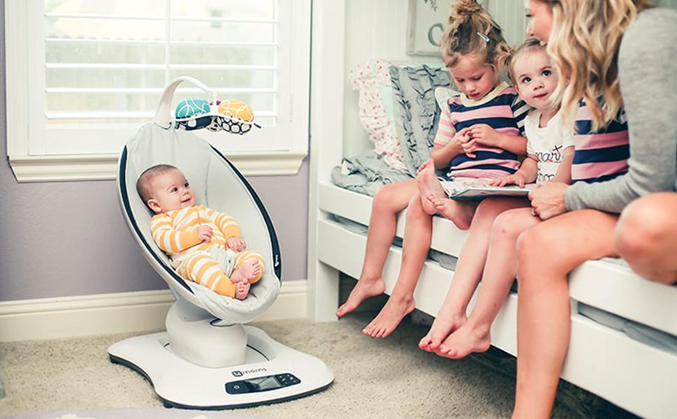 4 moms, mamarru, mamaroo, cadei de descanso, cadeira elétrica, cadeira mecaninca, cadeira de balanço