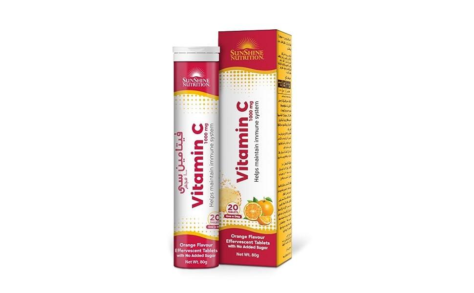 Sunshine Nutrition Vitamin C 1000 Mg Orange Flavor Effervescent Tablets