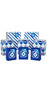 Blue Christmas gift bag bundle with white and silver ornaments, snowflakes and stripes