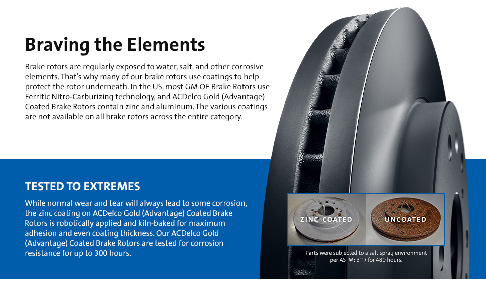 Description of ACDelco Gold rotors, that are zinc coated to help prevent rust and protect the rotor