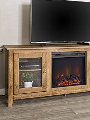 fireplace, fireplace space heater, fireplace tv stand, wood tv stand, wood tv console, light wood