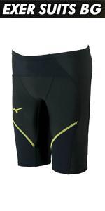 MIZUNO(ミズノ) 競泳水着 トレーニング用 メンズ エクサースーツ BG ハーフスパッツ N2MB7577
