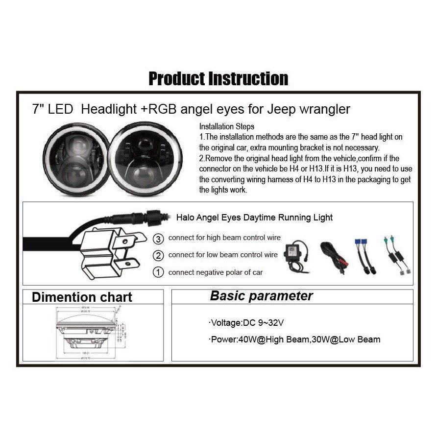 7 Inch Led Rgb Headlight7 Round Drl Headlamp Flashing Rgb Angel