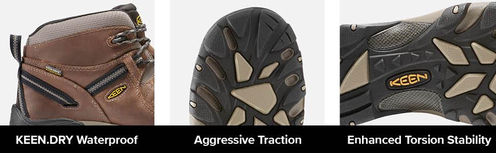 mens targhee 2 ii mid height hiking hiker boot shoe tech info torsion stability KEEN.DRY