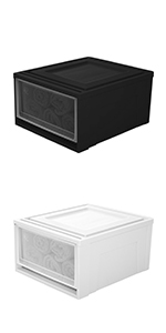 45 x 39 x 23 cm lote de 3 caj/ónes de pl/ástico apilables MD-M blanco escarchado Maxi Drawer 30L Iris Ohyama