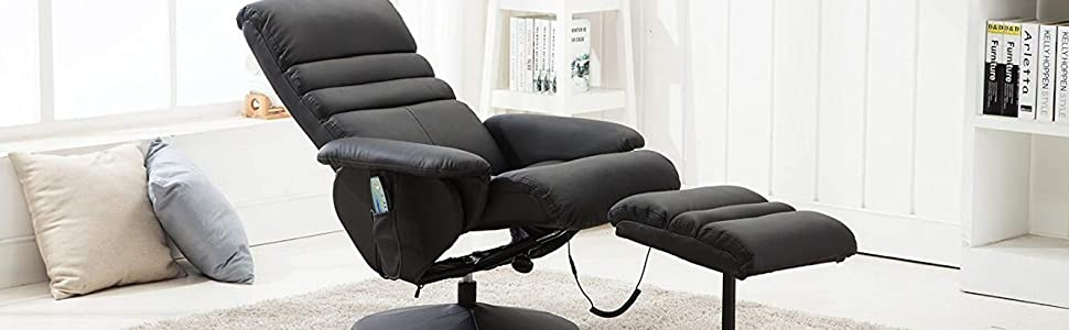 Super Mcombo Electric Faux Leather Recliner Chair And Ottoman Swivel Gaming Massage Chair With Wrapped Base Remote Control Swivel Seat 7902 Black Pabps2019 Chair Design Images Pabps2019Com