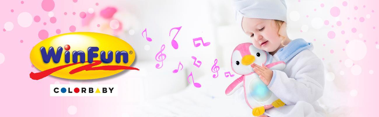 Winfun - Peluche Pingüino con sonidos & luz (ColorBaby 44519)