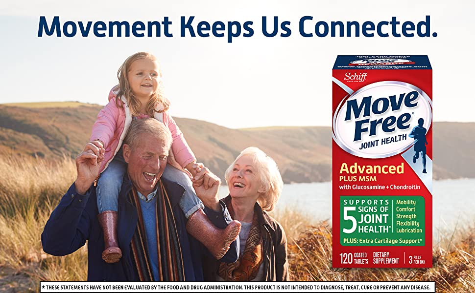 Movement keeps us connected.  Move Free Advanced 120 count glucosamine and chondroitin plus MSM