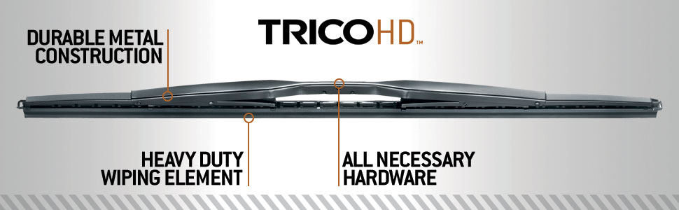 TRICO Heavy Duty wipers with durable metal construction and all necessary hardware