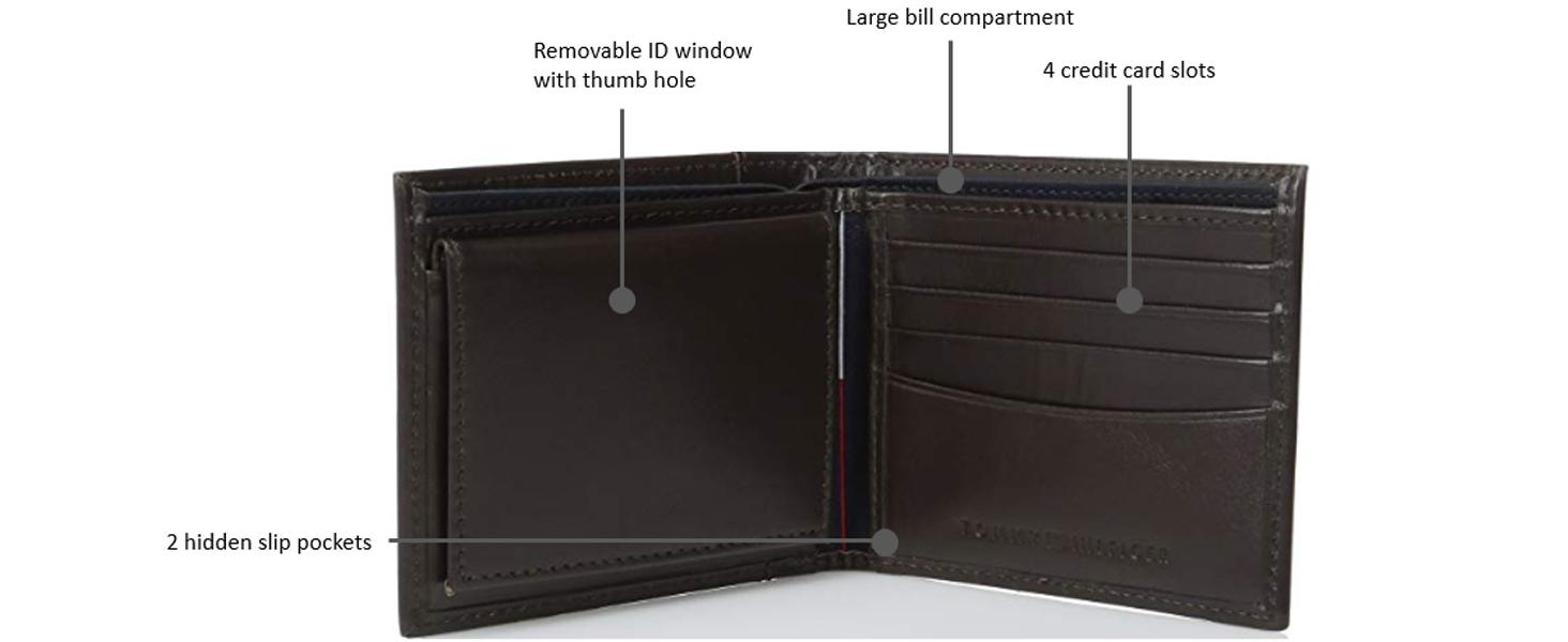 tommy hilfiger trifold mens leather wallet slim fold large genuine leather
