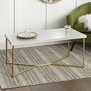 Groovy We Furniture Marble Gold Mid Century Modern Rectangle Coffee Table Pabps2019 Chair Design Images Pabps2019Com