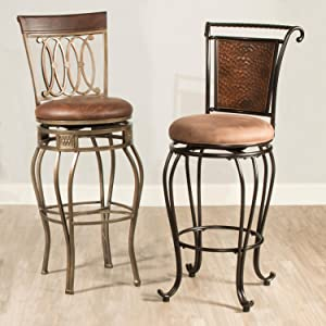 metal bar stool metal counter stool brown stool swivel stool durable counter  sc 1 st  Amazon.com & Amazon.com: Hillsdale Bellamy Backless Vanity Stool Beige ... islam-shia.org