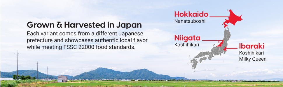 harvested in Japan, prefectures, FSSC 22000 food standards, local, authentic, Hokkaido, Niigata