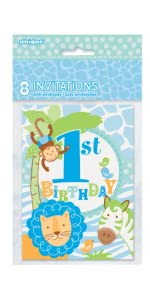 Amazoncom Blue Safari First Birthday Invitations 8ct Kitchen