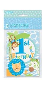 Jumbo Plastic Blue Safari First Birthday Gift Bag Centerpiece Decoration