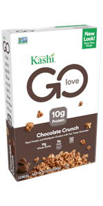 Kashi GO Chocolate Crunch cereal is made with 17 grams of whole grains