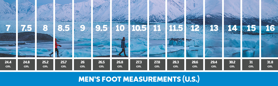 men's foot measurement chart, columbia