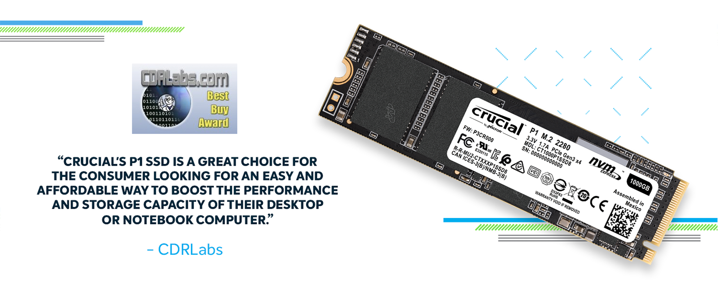 Crucial P1 1TB 3D NAND NVMe PCIe M 2 SSD - CT1000P1SSD8