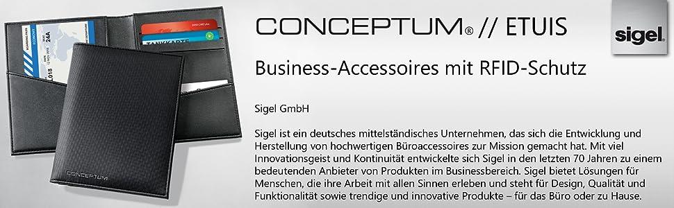 Sigel Co901 Kredit Und Visitenkartenetui 4 Fächer Einschubfach Rfid Nfc Schutz Schwarz Conceptum