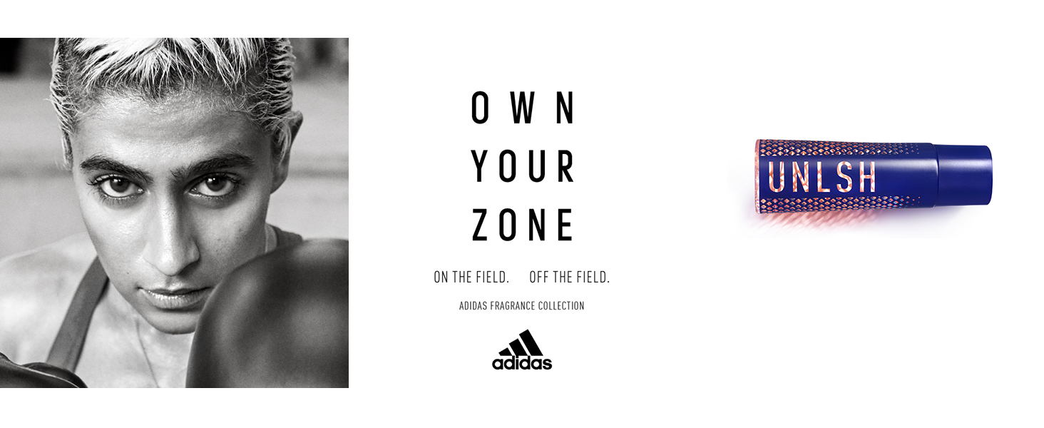 Own Your Zone. On the field. Off the field. Adidas fragrance collection.