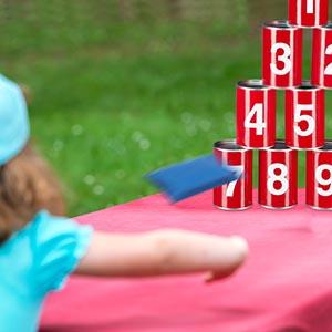 Dosenwerfen Kinder Ballwurfspiel Geschicklichkeitsspiel 10 Dosen Büchsenwerfen
