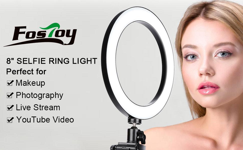 Mini Lampe Torche LED pour vid/éo//Photographie Youtube Compatible avec iPhone XS Max 8Selfie Ring Light avec tr/épied et Support de t/él/éphone Portable pour la Diffusion en Direct//Maquillage
