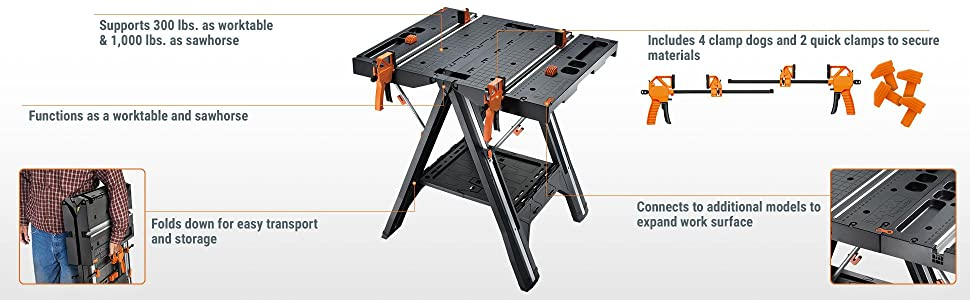 WORX Pegasus Multi-Function Work Table and Sawhorse with Quick Clamps and Holding Pegs – WX051 15