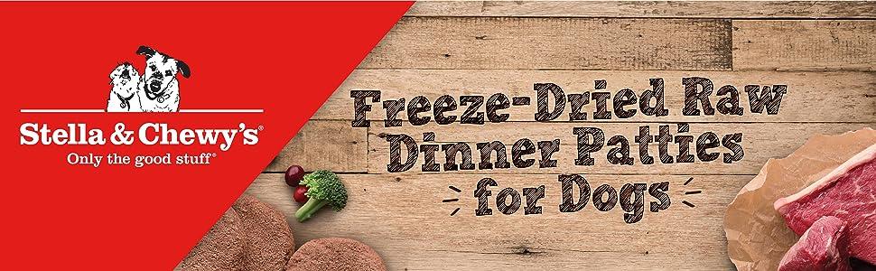 dehydrated dog food, raw dog food, freeze dried dog food, dinner patty, raw food, chewy