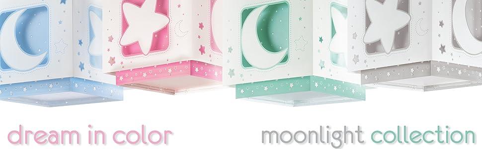 Dalber 63235LE Moon and Stars, Luz nocturna Luna y estrellas gris, bombilla LED incluida, Clase de eficiencia energética A++