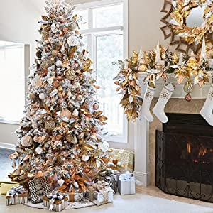 decorated perfect holiday snow flocked christmas tree - Fully Decorated Christmas Trees For Sale
