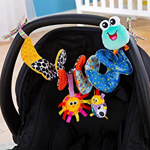 Lamaze Fold and Go Activity Friends Baby Toy strapped to the carry cot