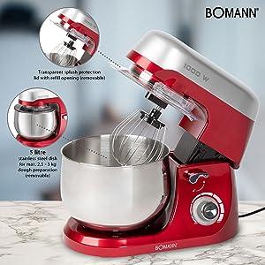 Bomann KM 6009 CB - Robot Batidora amasadora repostería capacidad de 5 litros, velocidad regulable electrónica, 1000 W color rojo + báscula cocina: Amazon.es: Hogar