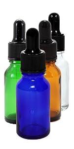 Assorted colors 15 ml glass eye dropper bottles from Vivaplex