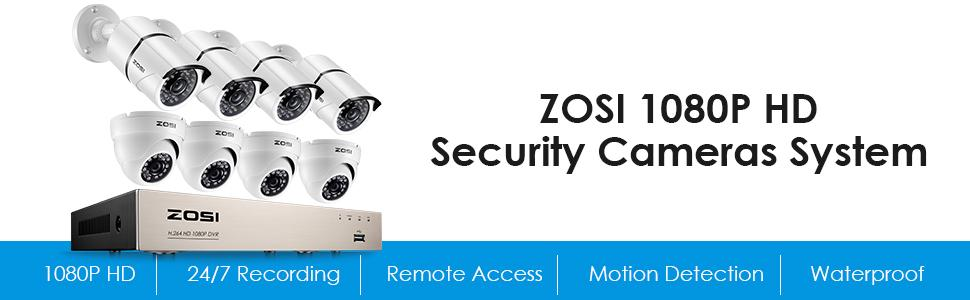 ZOSI Full HD 1080p Security Camera System, 8x 1080p HD Weatherproof Outdoor  Surveillance Camera, 8CH 1080P CCTV DVR Recorder and 2TB Hard Drive, 100ft