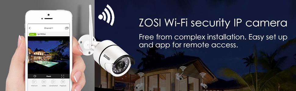 ZOSI WiFi Surveillance Camera-1080P HD Outdoor Wireless Security IPC Camera  with Motion Detection Remote Access & 100ft Night Vision, no Micro SD Card