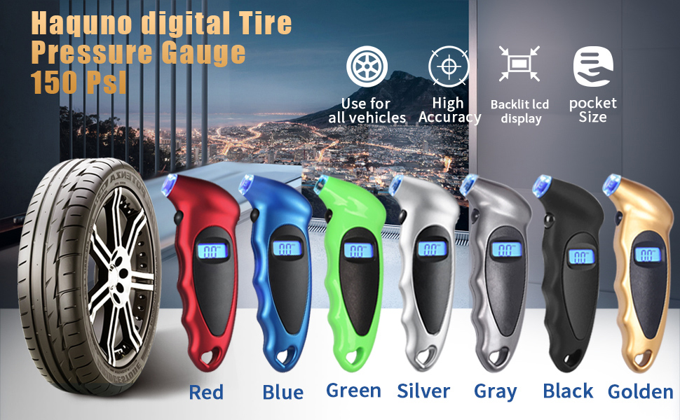 Haquno Digital Tyre Pressure Gauge 150 PSI 4 Settings for Car Truck Bicycle with Backlit LCD and Non-Slip Grip Tyre Pressure Checker Blue