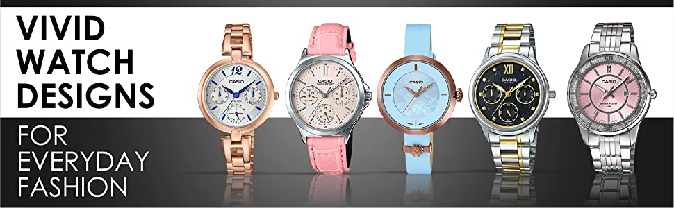 CASIO ENTICER WATCH FEMALE STYLISH SPARKLE PINK LEATHER WHITE