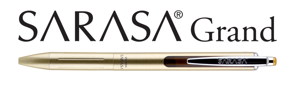 zebra sarasa grand banner, gel pens with rapid dry ink technology, 6 barrel colors available