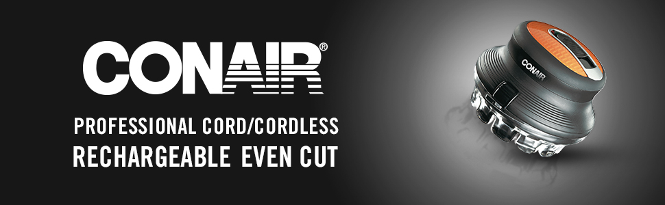 Conair Professional Cord/Cordless Even Cut Rotary Hair Cut Cutting System,  5 Cutting Lengths, Black