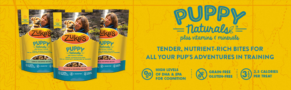 Zuke's Puppy Naturals Tender, nutrient-rich bites for all your pup's adventures in training