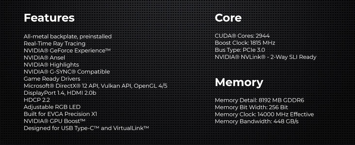 EVGA GeForce RTX 2080 XC GAMING, 8GB GDDR6, Dual HDB Fans & RGB LED  Graphics Card 08G-P4-2182-KR