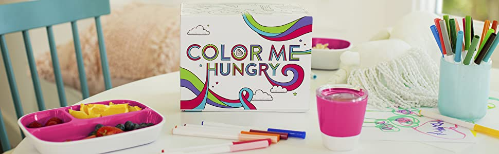 rosa Munchkin Colour Me Hungry Esslern-Set In Ausmal-Geschenkbox 7-Teilig