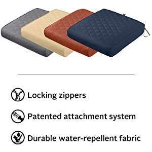 Montlake FadeSafe Quilted Patio Chair Seat Cushion Features