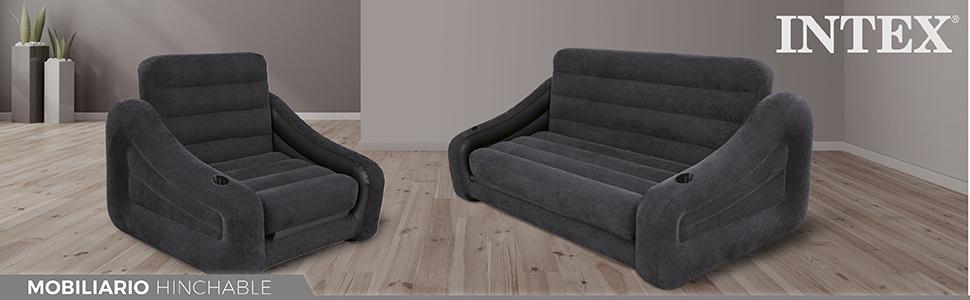 Intex 68566NP - Sofá cama hinchable doble 193 x 221 x 66 cm ...