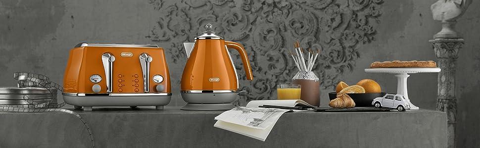 icona capitals; toaster and kettle set; delongi