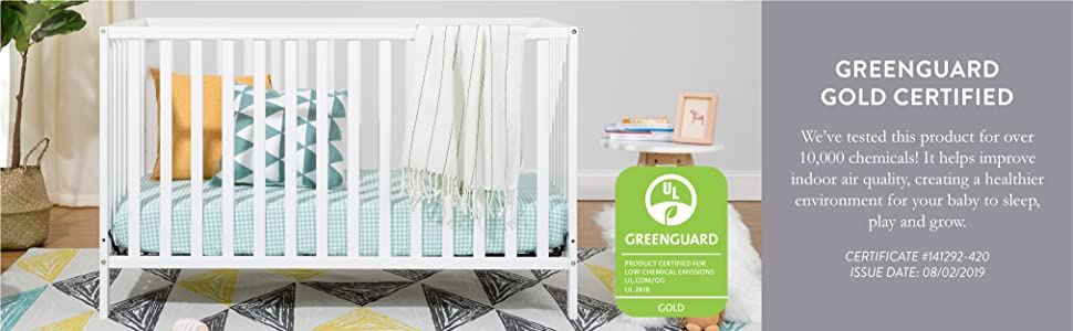 Union 3-in-1 2-in-1 Convertible Crib GREENGUARD Gold Certified Safety Safe