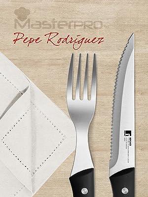 Edición MASTERPRO Gourmet Cubertería 12PCS Cuchillos carne Tenedores Acero inoxidable Pepe Rodríguez