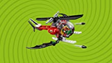 Batcopter with opening cockpit, bat-inspired wings with 2 flick missiles, spinning rotors
