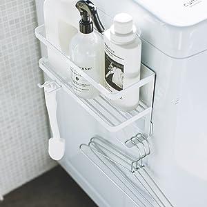 ホースホルダー付き 洗濯機横 マグネットラック タワー ホワイト 4768